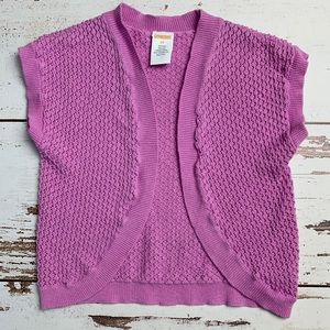 GYMBOREE Purple Crocheted SS Wrap Sweater 3T